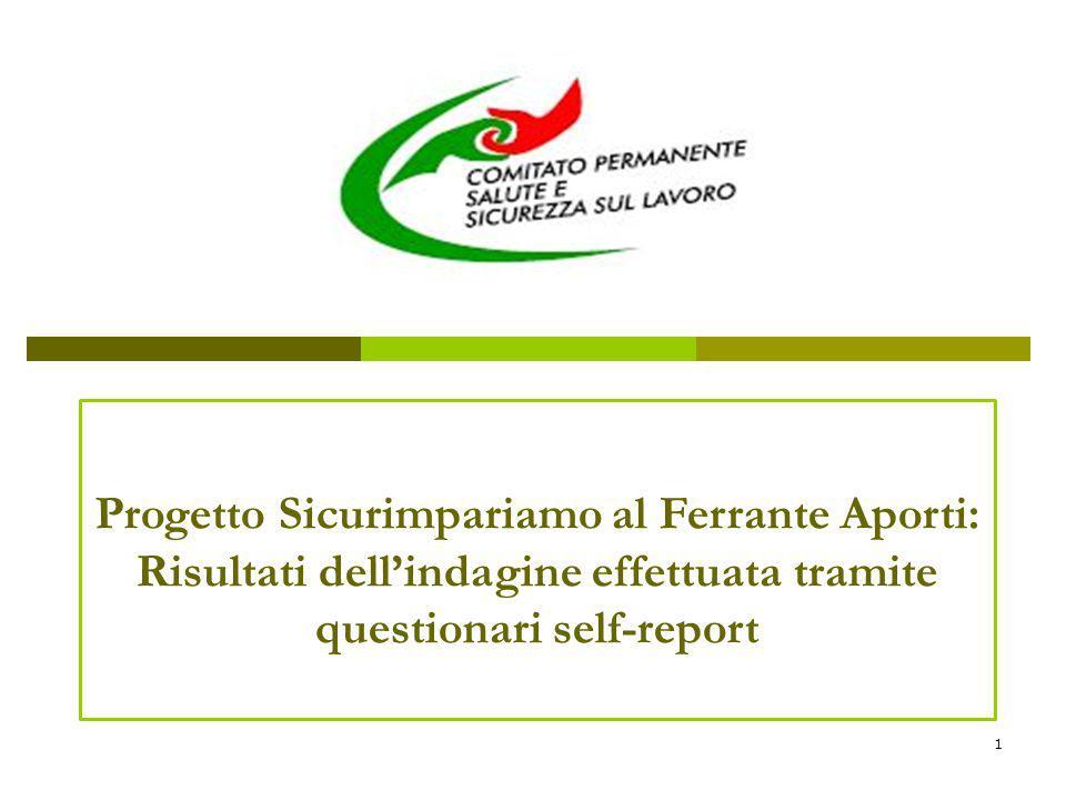Progetto Sicurimpariamo al Ferrante Aporti: Risultati dell'indagine effettuata tramite questionari self-report 1