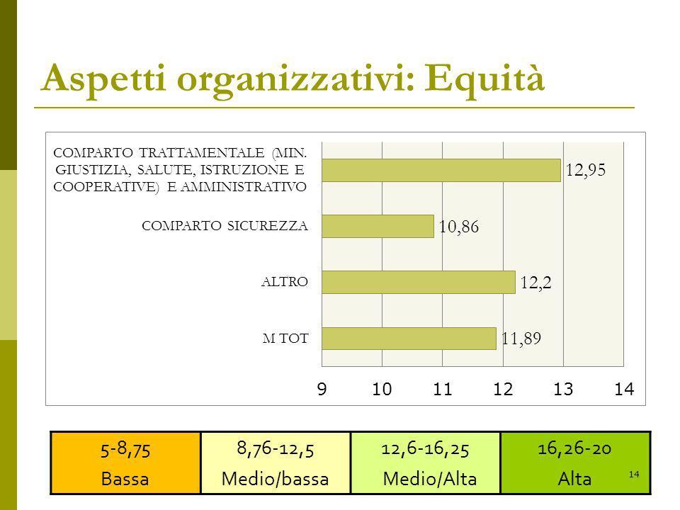 Aspetti organizzativi: Equità 5-8,75 Bassa 8,76-12,5 Medio/bassa 12,6-16,25 Medio/Alta 16,26-20 Alta 14