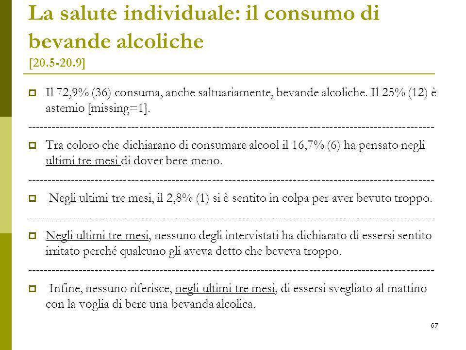 La salute individuale: il consumo di bevande alcoliche [20.5-20.9]  Il 72,9% (36) consuma, anche saltuariamente, bevande alcoliche.
