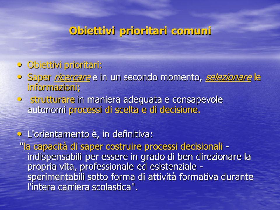Obiettivi prioritari comuni Obiettivi prioritari: Obiettivi prioritari: Saper ricercare e in un secondo momento, selezionare le informazioni; Saper ri