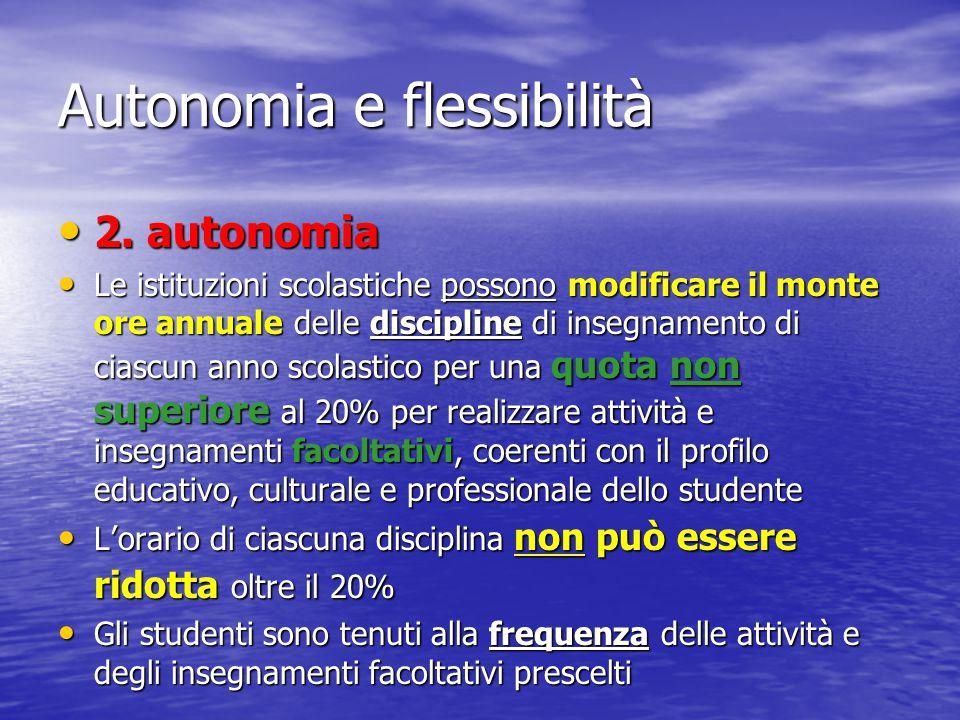 Autonomia e flessibilità 2. autonomia 2. autonomia Le istituzioni scolastiche possono modificare il monte ore annuale delle discipline di insegnamento