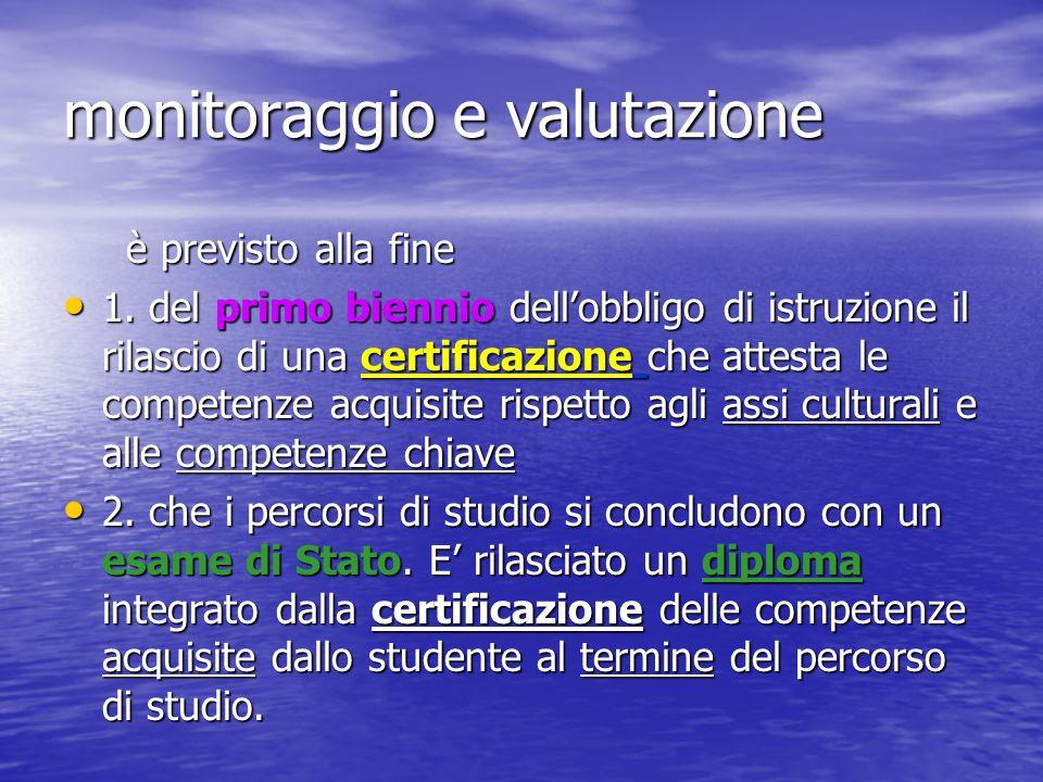 monitoraggio e valutazione è previsto alla fine è previsto alla fine 1. del primo biennio dell'obbligo di istruzione il rilascio di una certificazione