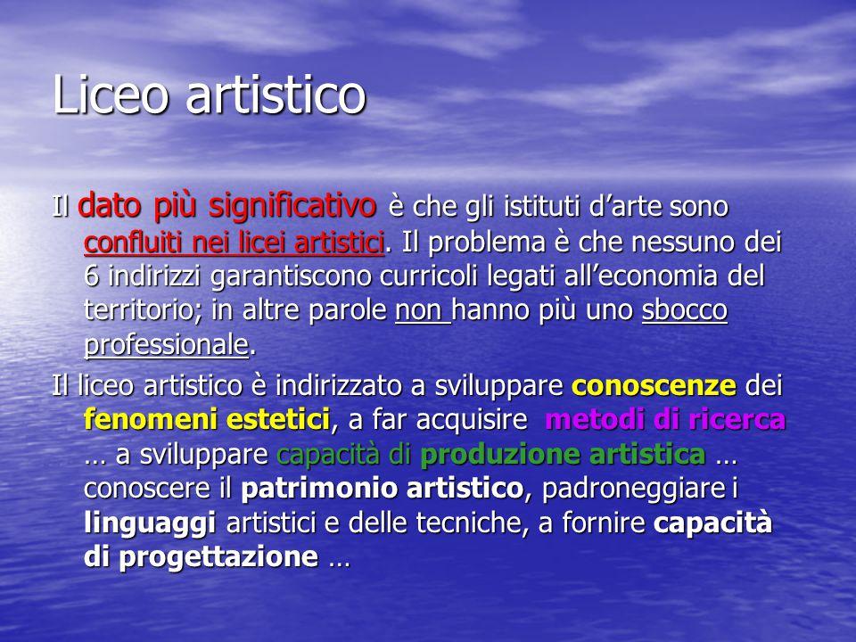 Liceo artistico Il dato più significativo è che gli istituti d'arte sono confluiti nei licei artistici. Il problema è che nessuno dei 6 indirizzi gara