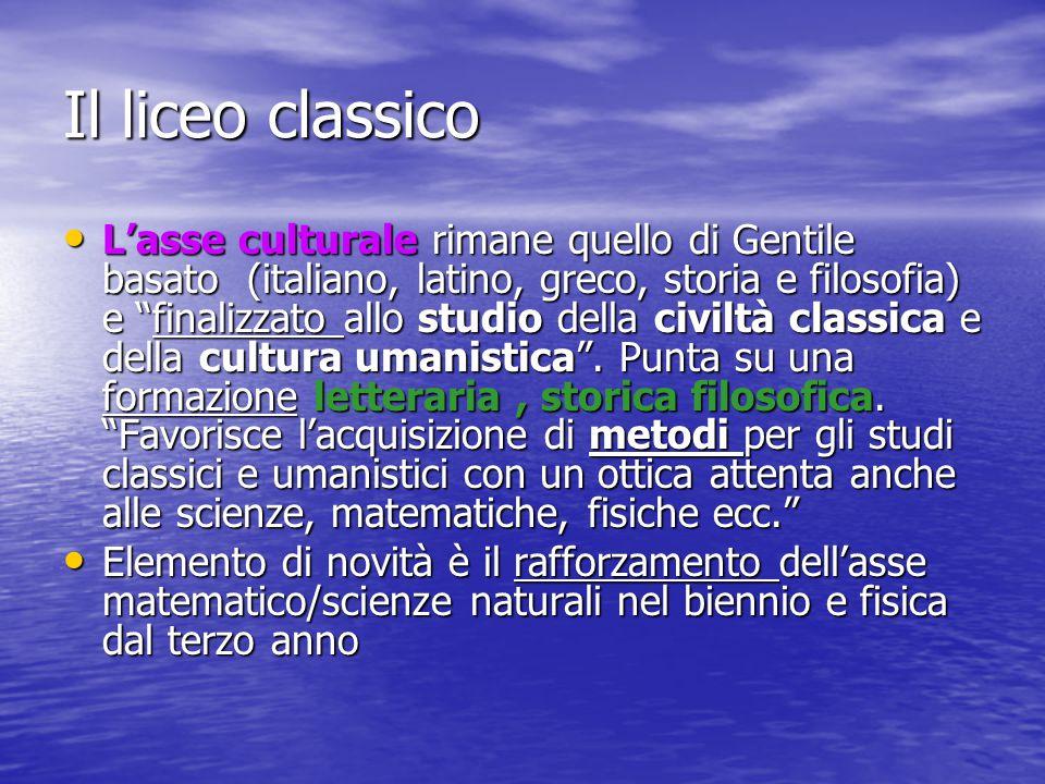 """Il liceo classico L'asse culturale rimane quello di Gentile basato (italiano, latino, greco, storia e filosofia) e """"finalizzato allo studio della civi"""