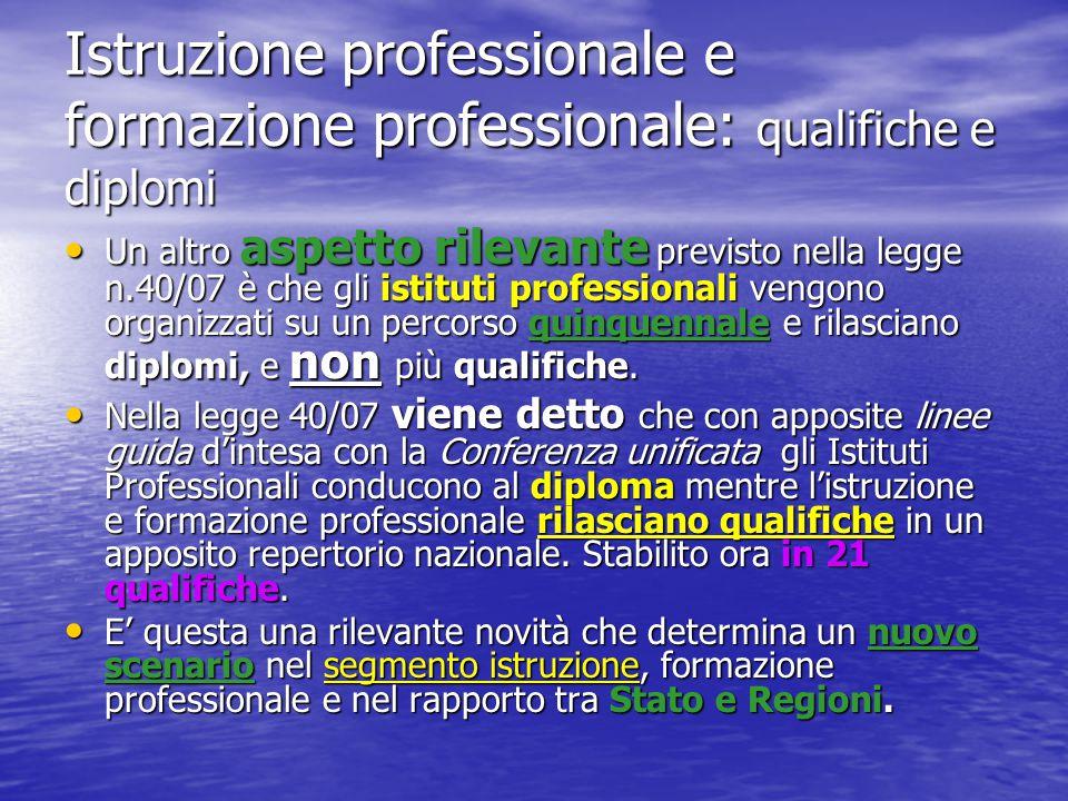 Istruzione professionale e formazione professionale: qualifiche e diplomi Un altro aspetto rilevante previsto nella legge n.40/07 è che gli istituti p