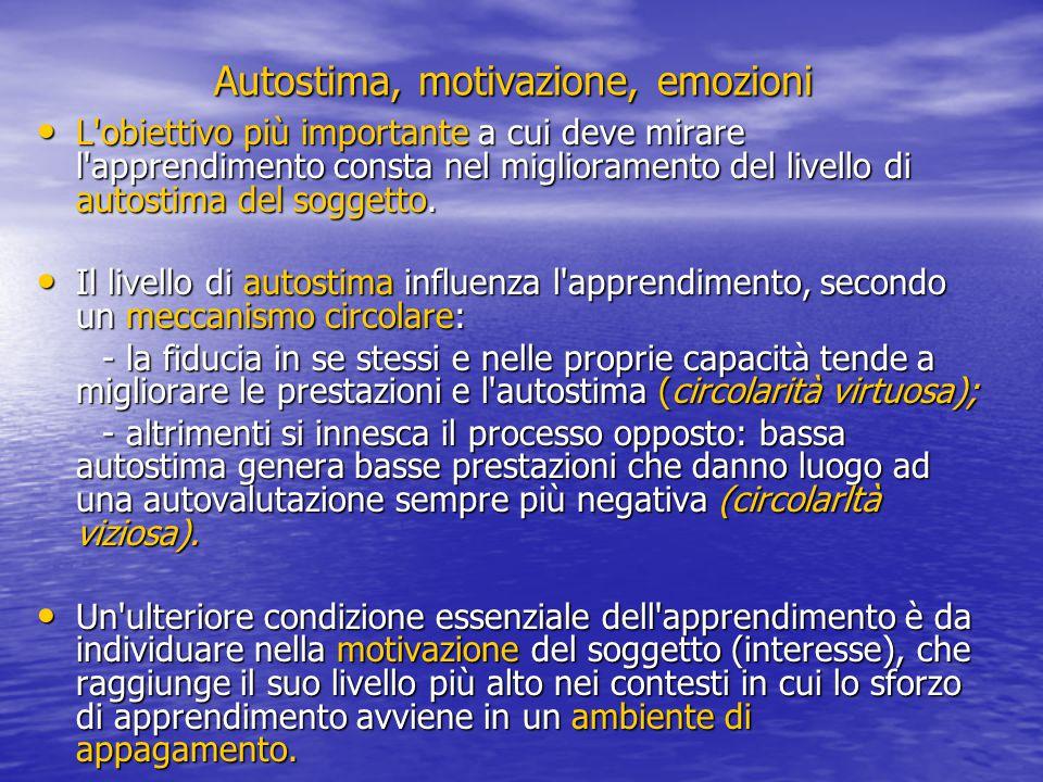 Autostima, motivazione, emozioni L'obiettivo più importante a cui deve mirare l'apprendimento consta nel miglioramento del livello di autostima del so