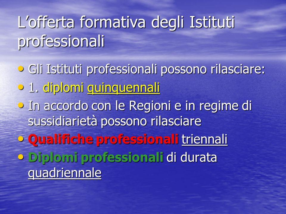 L'offerta formativa degli Istituti professionali Gli Istituti professionali possono rilasciare: Gli Istituti professionali possono rilasciare: 1. dipl