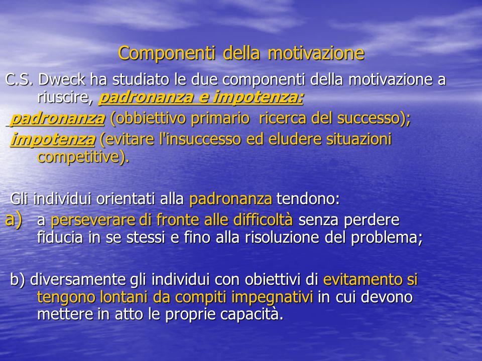 Componenti della motivazione C.S. Dweck ha studiato le due componenti della motivazione a riuscire, padronanza e impotenza: padronanza (obbiettivo pri