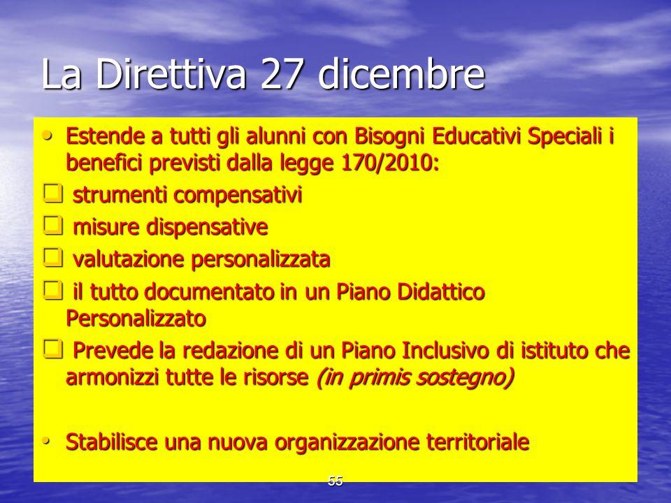La Direttiva 27 dicembre Estende a tutti gli alunni con Bisogni Educativi Speciali i benefici previsti dalla legge 170/2010: Estende a tutti gli alunn