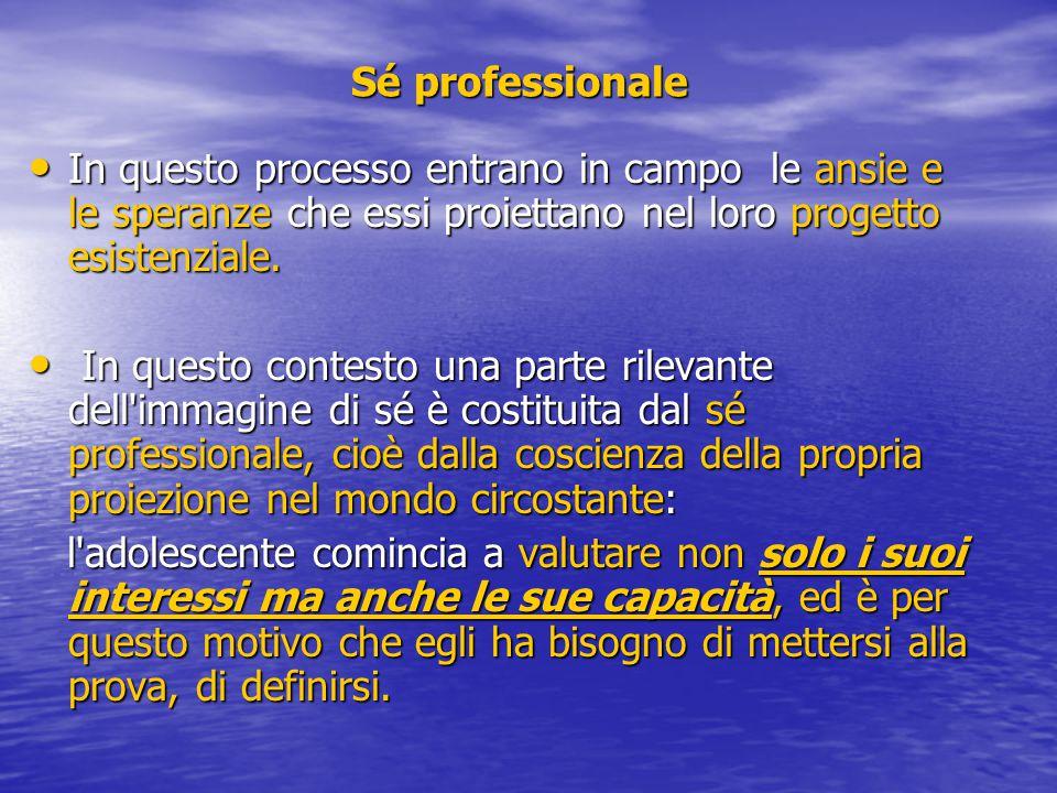 Sé professionale In questo processo entrano in campo le ansie e le speranze che essi proiettano nel loro progetto esistenziale. In questo processo ent