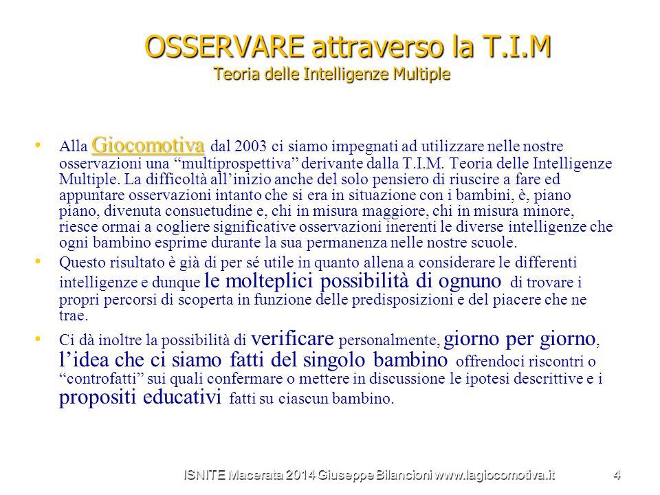 OSSERVARE attraverso la T.I.M Teoria delle Intelligenze Multiple Giocomotiva Alla Giocomotiva dal 2003 ci siamo impegnati ad utilizzare nelle nostre o