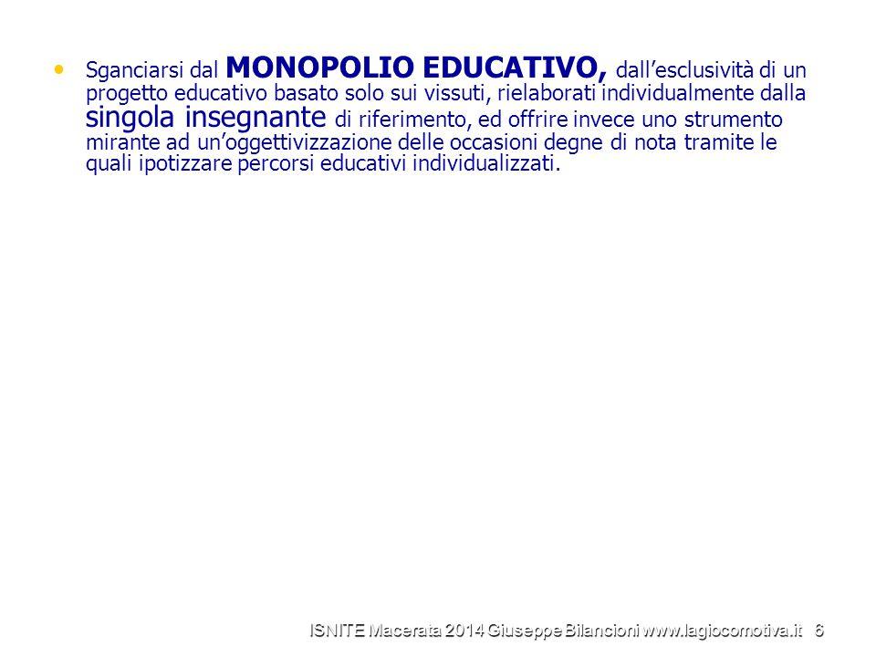 Sganciarsi dal MONOPOLIO EDUCATIVO, dall'esclusività di un progetto educativo basato solo sui vissuti, rielaborati individualmente dalla singola inseg