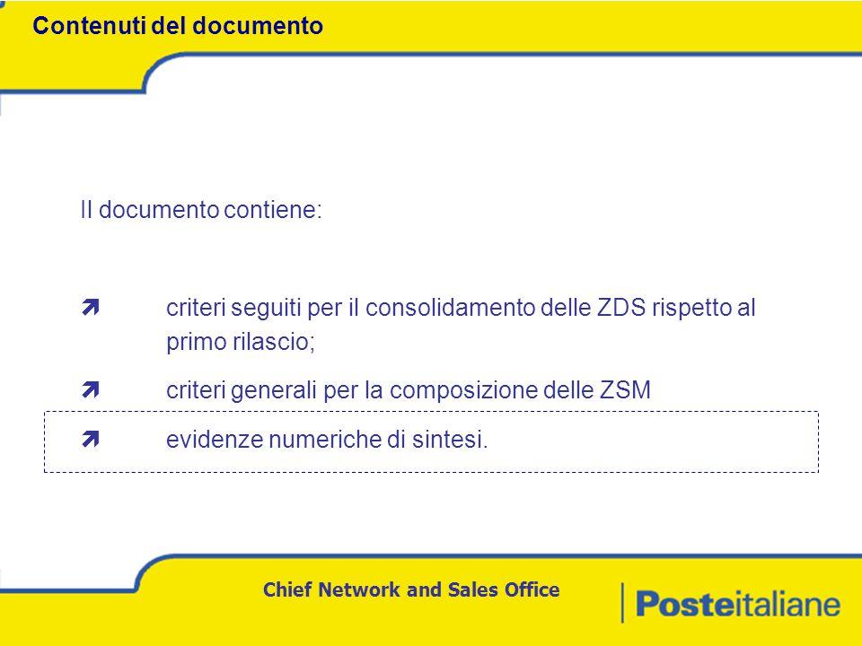 Chief Network and Sales Office Il documento contiene:  criteri seguiti per il consolidamento delle ZDS rispetto al primo rilascio;  criteri generali per la composizione delle ZSM  evidenze numeriche di sintesi.