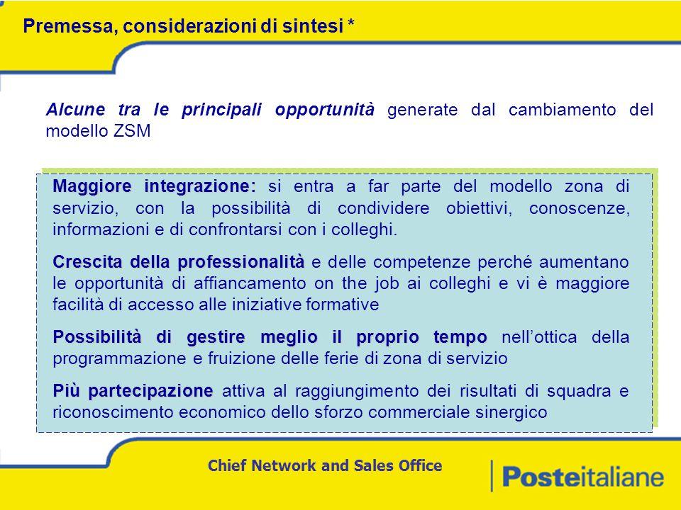 Chief Network and Sales Office Maggiore integrazione: Maggiore integrazione: si entra a far parte del modello zona di servizio, con la possibilità di condividere obiettivi, conoscenze, informazioni e di confrontarsi con i colleghi.