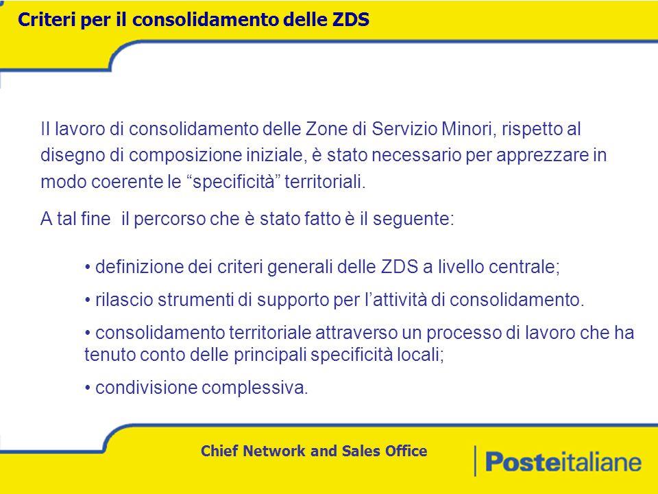 Chief Network and Sales Office Il lavoro di consolidamento delle Zone di Servizio Minori, rispetto al disegno di composizione iniziale, è stato necessario per apprezzare in modo coerente le specificità territoriali.