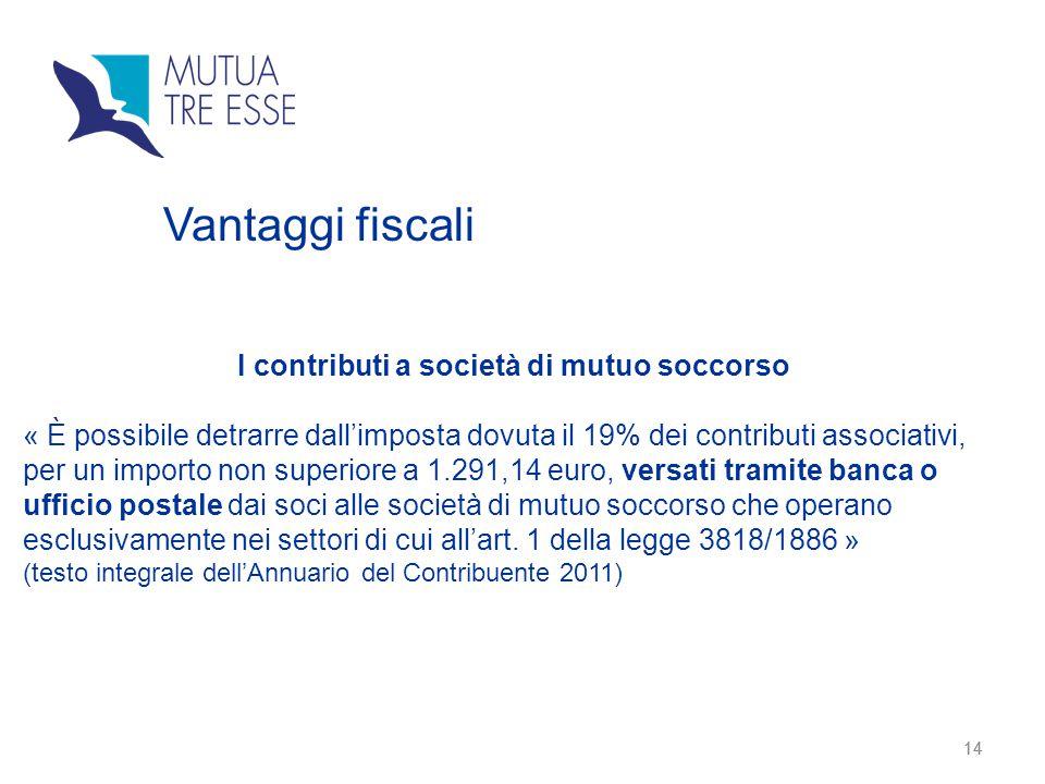 14 Vantaggi fiscali I contributi a società di mutuo soccorso « È possibile detrarre dall'imposta dovuta il 19% dei contributi associativi, per un impo