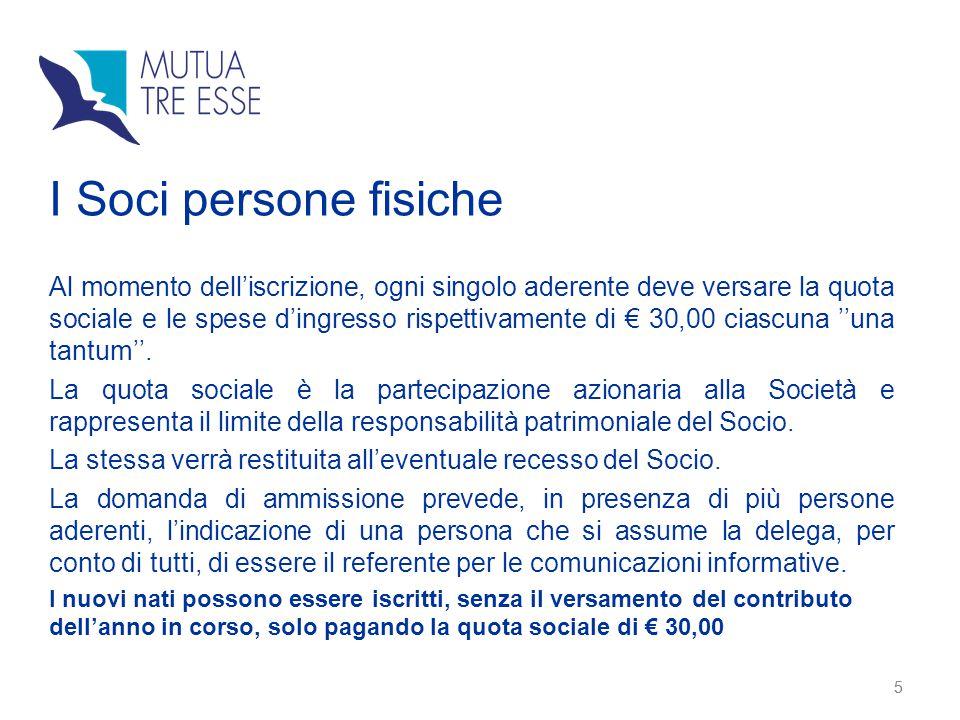 5 I Soci persone fisiche Al momento dell'iscrizione, ogni singolo aderente deve versare la quota sociale e le spese d'ingresso rispettivamente di € 30