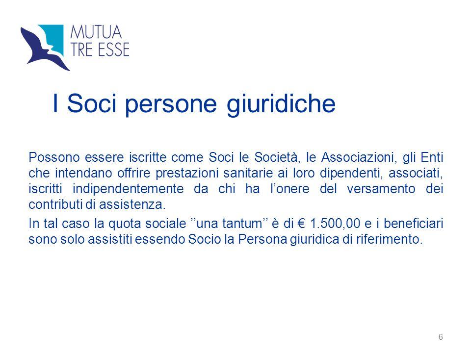 6 I Soci persone giuridiche Possono essere iscritte come Soci le Società, le Associazioni, gli Enti che intendano offrire prestazioni sanitarie ai lor