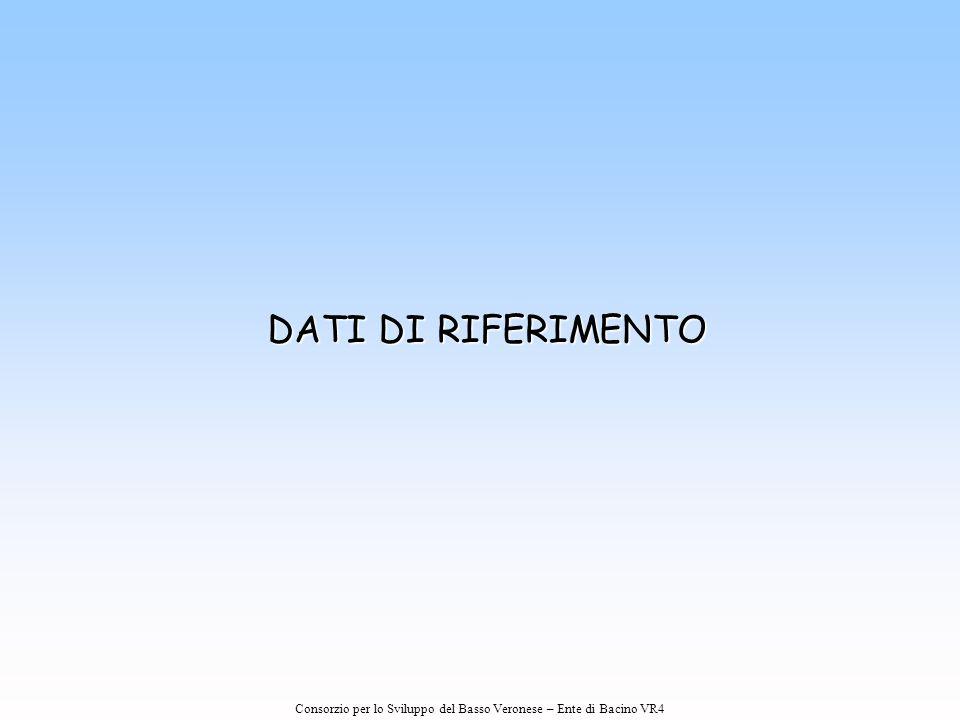Consorzio per lo Sviluppo del Basso Veronese – Ente di Bacino VR4 DATI DI RIFERIMENTO