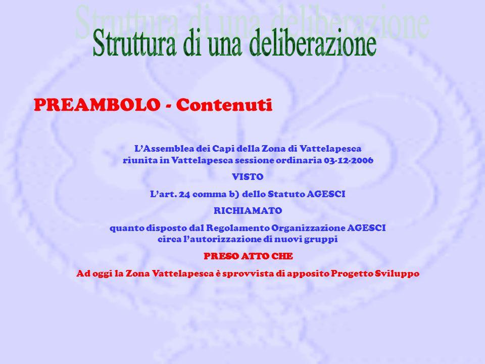 PREAMBOLO - Contenuti L'Assemblea dei Capi della Zona di Vattelapesca riunita in Vattelapesca sessione ordinaria 03-12-2006 VISTO L'art.