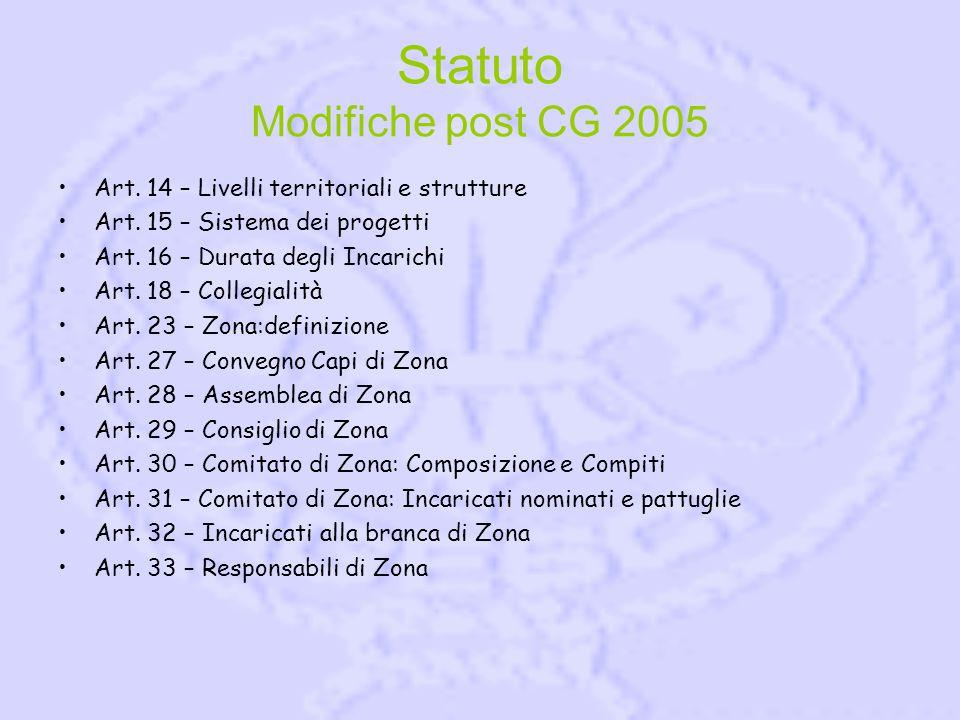 Statuto Modifiche post CG 2005 Art. 14 – Livelli territoriali e strutture Art.