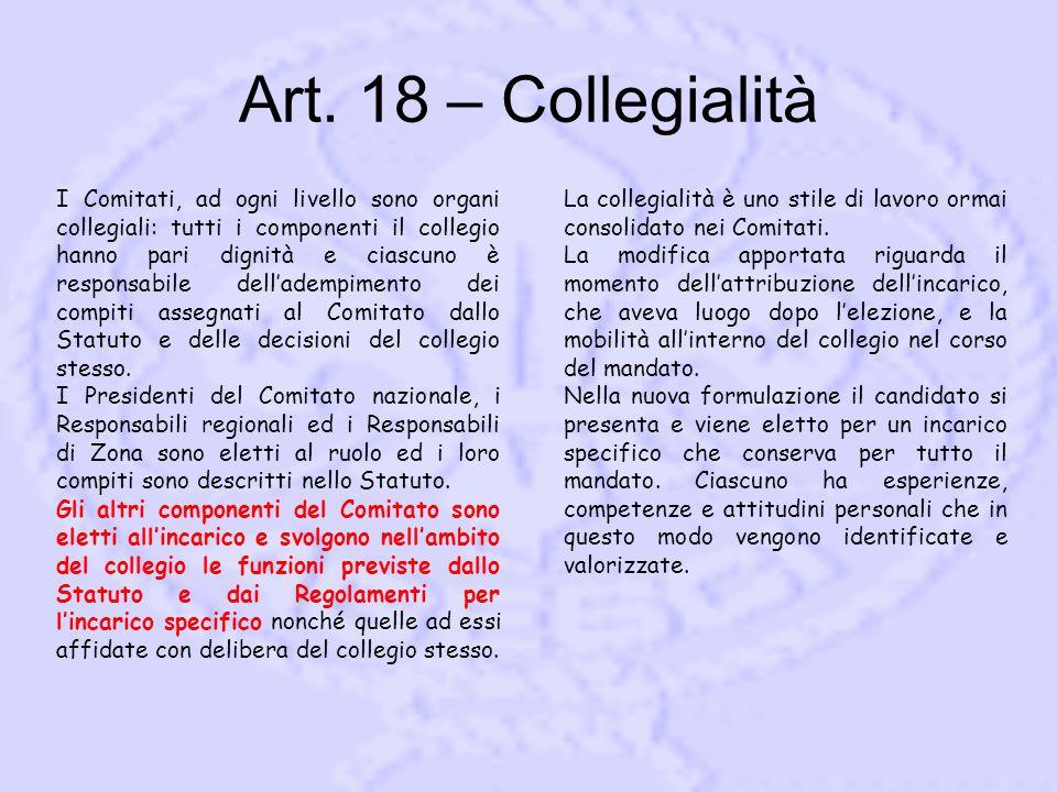 Art. 18 – Collegialità I Comitati, ad ogni livello sono organi collegiali: tutti i componenti il collegio hanno pari dignità e ciascuno è responsabile