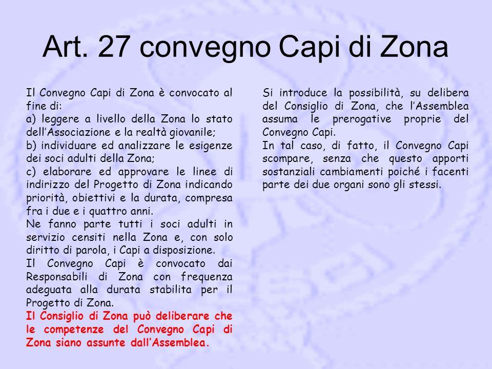 Art. 27 convegno Capi di Zona Il Convegno Capi di Zona è convocato al fine di: a) leggere a livello della Zona lo stato dell'Associazione e la realtà