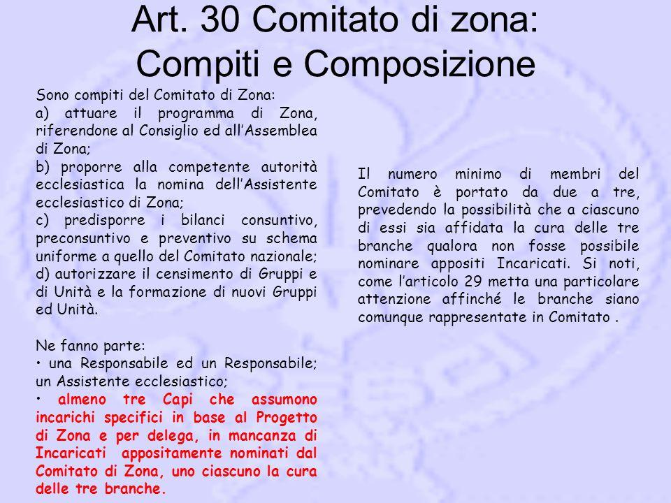 Art. 30 Comitato di zona: Compiti e Composizione Sono compiti del Comitato di Zona: a) attuare il programma di Zona, riferendone al Consiglio ed all'A