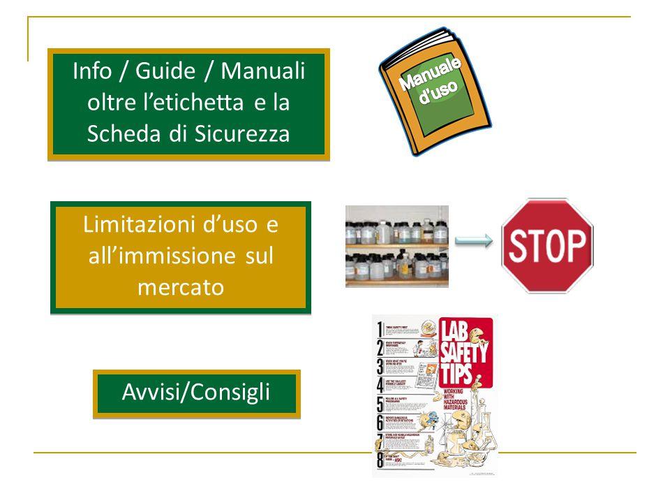 Info / Guide / Manuali oltre l'etichetta e la Scheda di Sicurezza Limitazioni d'uso e all'immissione sul mercato Avvisi/Consigli