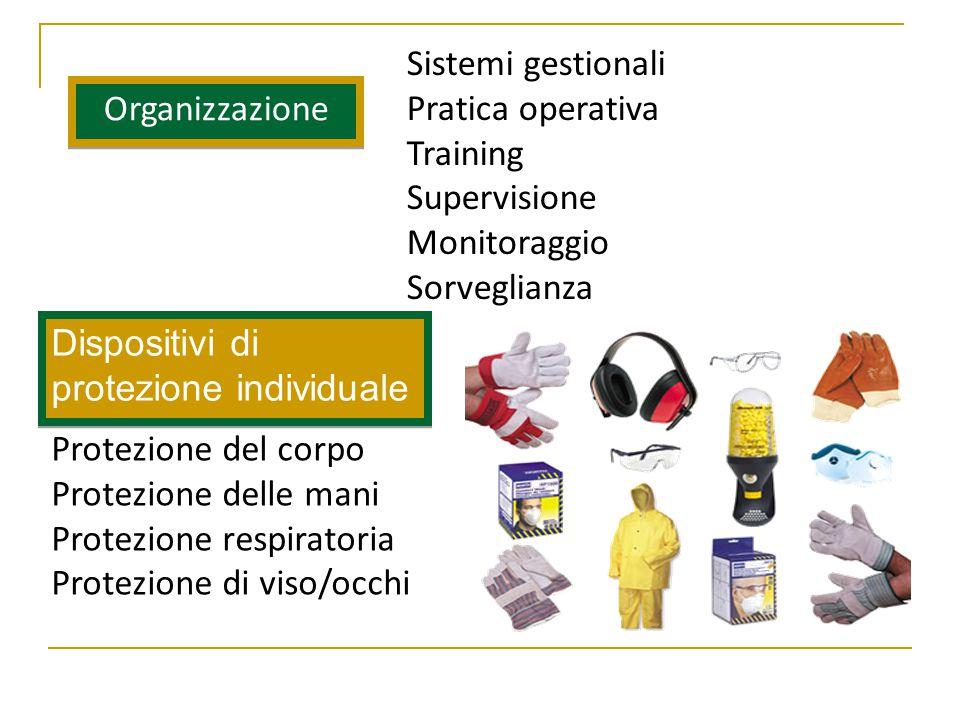 Organizzazione Dispositivi di protezione individuale Sistemi gestionali Pratica operativa Training Supervisione Monitoraggio Sorveglianza Protezione del corpo Protezione delle mani Protezione respiratoria Protezione di viso/occhi