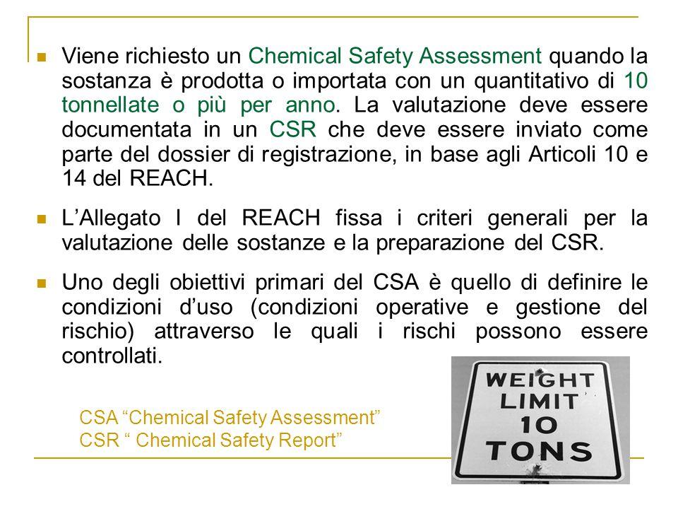 Viene richiesto un Chemical Safety Assessment quando la sostanza è prodotta o importata con un quantitativo di 10 tonnellate o più per anno.