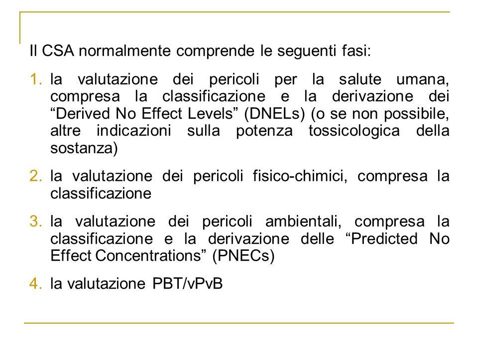 Il CSA normalmente comprende le seguenti fasi: 1.la valutazione dei pericoli per la salute umana, compresa la classificazione e la derivazione dei Derived No Effect Levels (DNELs) (o se non possibile, altre indicazioni sulla potenza tossicologica della sostanza) 2.la valutazione dei pericoli fisico-chimici, compresa la classificazione 3.la valutazione dei pericoli ambientali, compresa la classificazione e la derivazione delle Predicted No Effect Concentrations (PNECs) 4.la valutazione PBT/vPvB