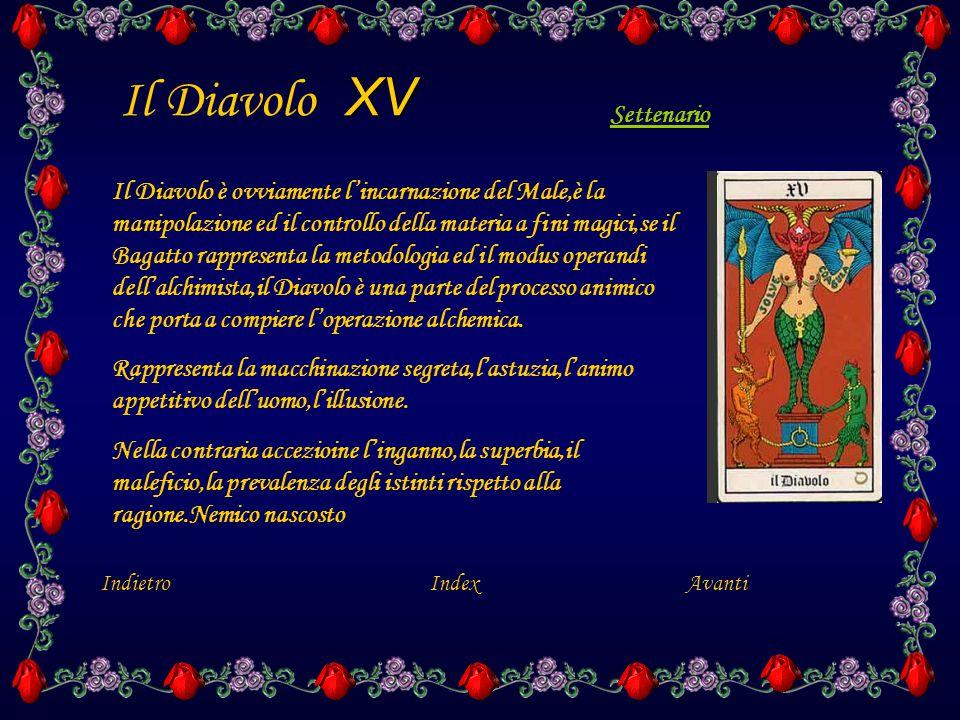 XV Il Diavolo XV Il Diavolo è ovviamente l'incarnazione del Male,è la manipolazione ed il controllo della materia a fini magici,se il Bagatto rappresenta la metodologia ed il modus operandi dell'alchimista,il Diavolo è una parte del processo animico che porta a compiere l'operazione alchemica.