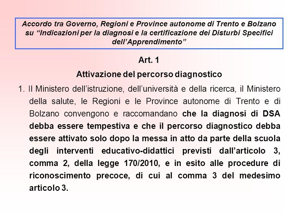 Art.1 Attivazione del percorso diagnostico 1.