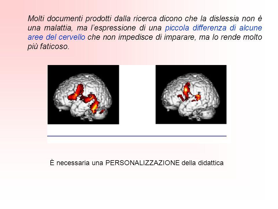 Molti documenti prodotti dalla ricerca dicono che la dislessia non è una malattia, ma l'espressione di una piccola differenza di alcune aree del cervello che non impedisce di imparare, ma lo rende molto più faticoso.