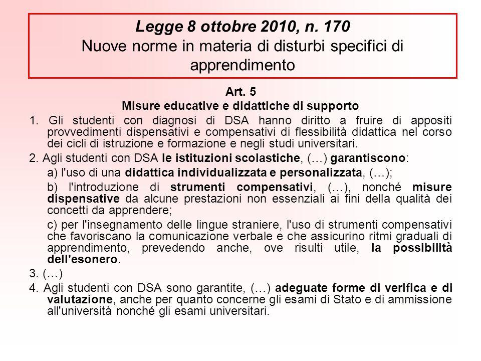 Art.5 Misure educative e didattiche di supporto 1.