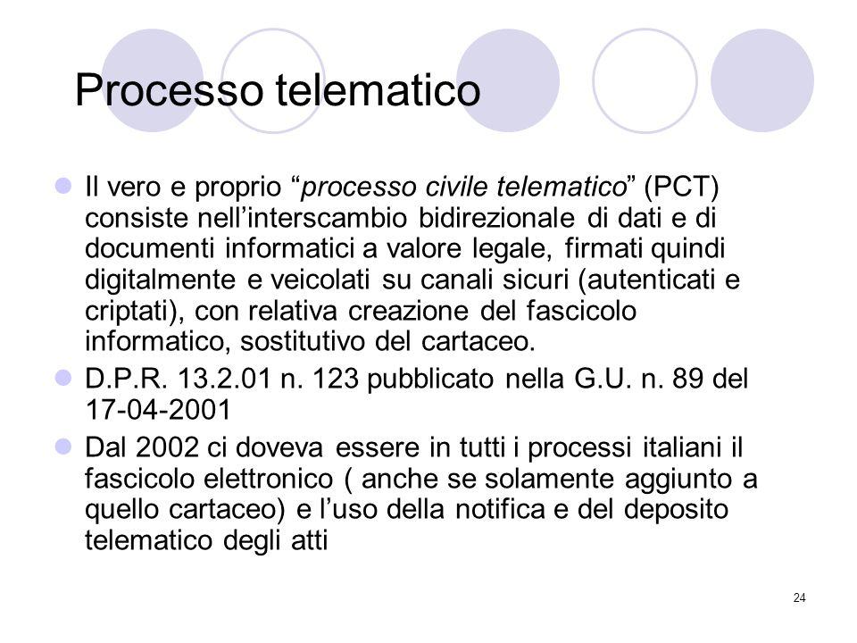 24 Processo telematico Il vero e proprio processo civile telematico (PCT) consiste nell'interscambio bidirezionale di dati e di documenti informatici a valore legale, firmati quindi digitalmente e veicolati su canali sicuri (autenticati e criptati), con relativa creazione del fascicolo informatico, sostitutivo del cartaceo.