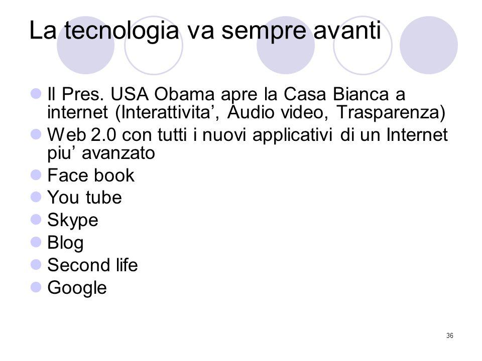 36 La tecnologia va sempre avanti Il Pres.