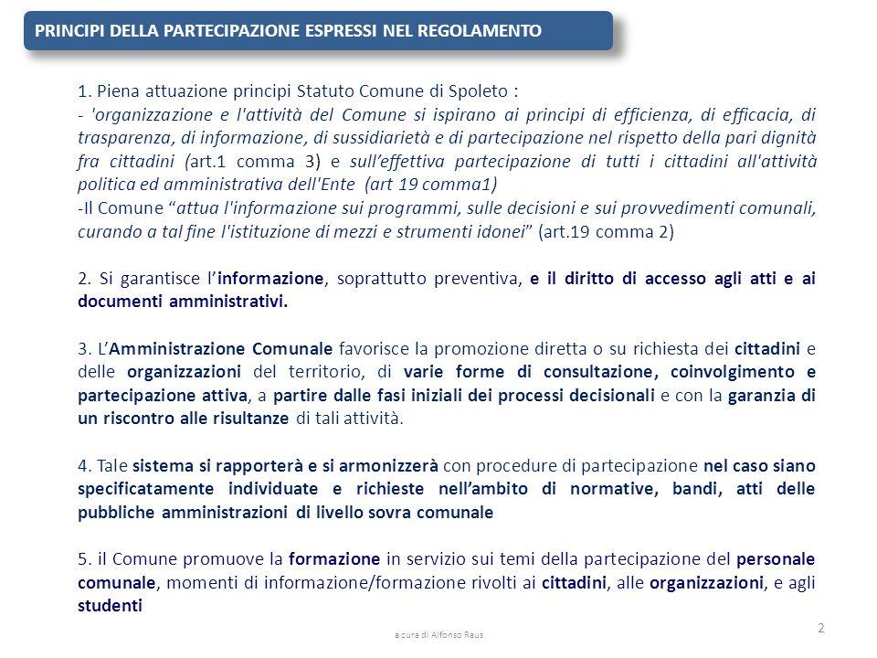 PRINCIPI DELLA PARTECIPAZIONE ESPRESSI NEL REGOLAMENTO 1. Piena attuazione principi Statuto Comune di Spoleto : - 'organizzazione e l'attività del Com