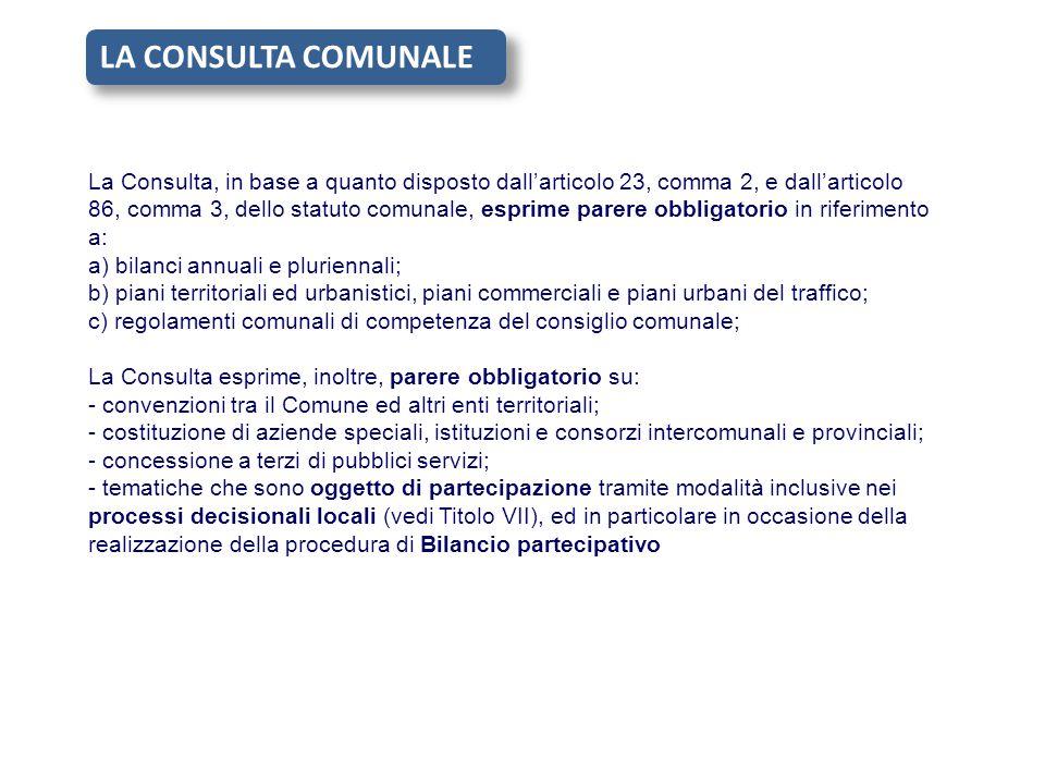 La Consulta, in base a quanto disposto dall'articolo 23, comma 2, e dall'articolo 86, comma 3, dello statuto comunale, esprime parere obbligatorio in