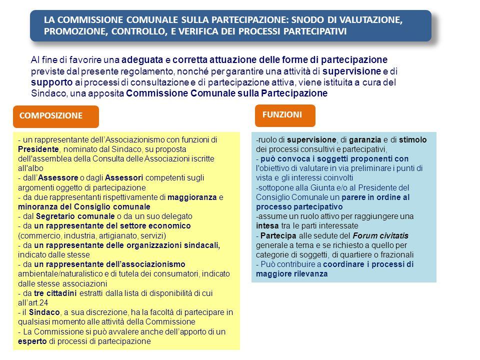 LA COMMISSIONE COMUNALE SULLA PARTECIPAZIONE: SNODO DI VALUTAZIONE, PROMOZIONE, CONTROLLO, E VERIFICA DEI PROCESSI PARTECIPATIVI Al fine di favorire u