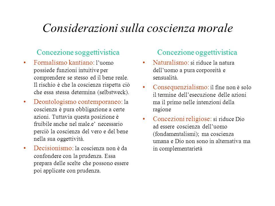 Considerazioni sulla coscienza morale Concezione soggettivistica Formalismo kantiano: l'uomo possiede funzioni intuitive per comprendere se stesso ed