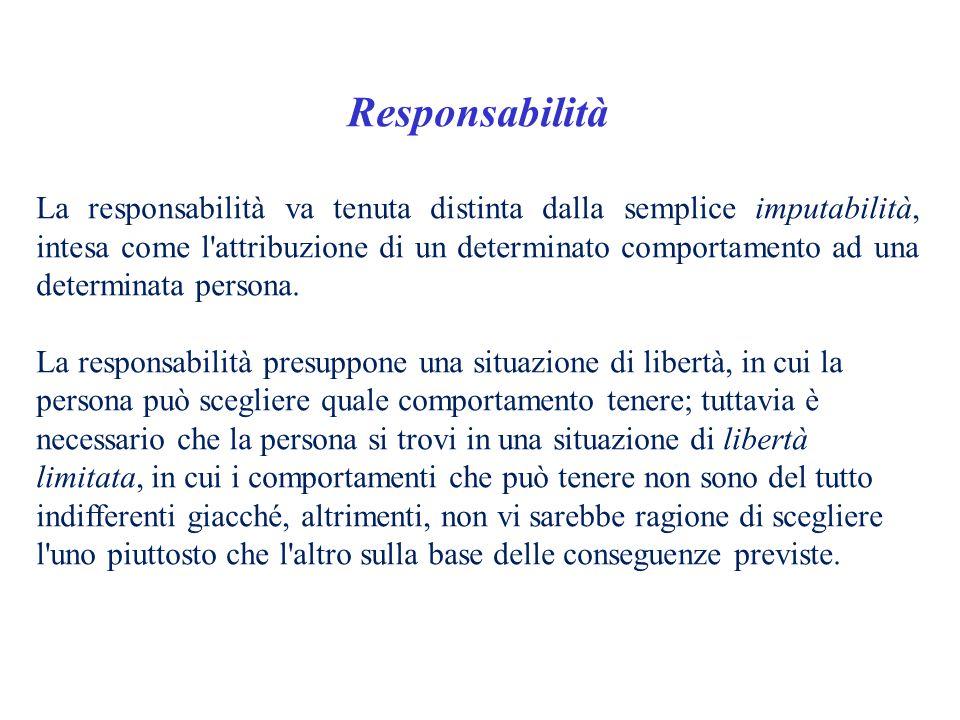 Responsabilità La responsabilità va tenuta distinta dalla semplice imputabilità, intesa come l'attribuzione di un determinato comportamento ad una det