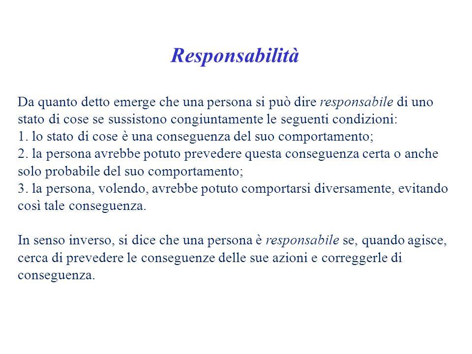 Responsabilità Da quanto detto emerge che una persona si può dire responsabile di uno stato di cose se sussistono congiuntamente le seguenti condizion
