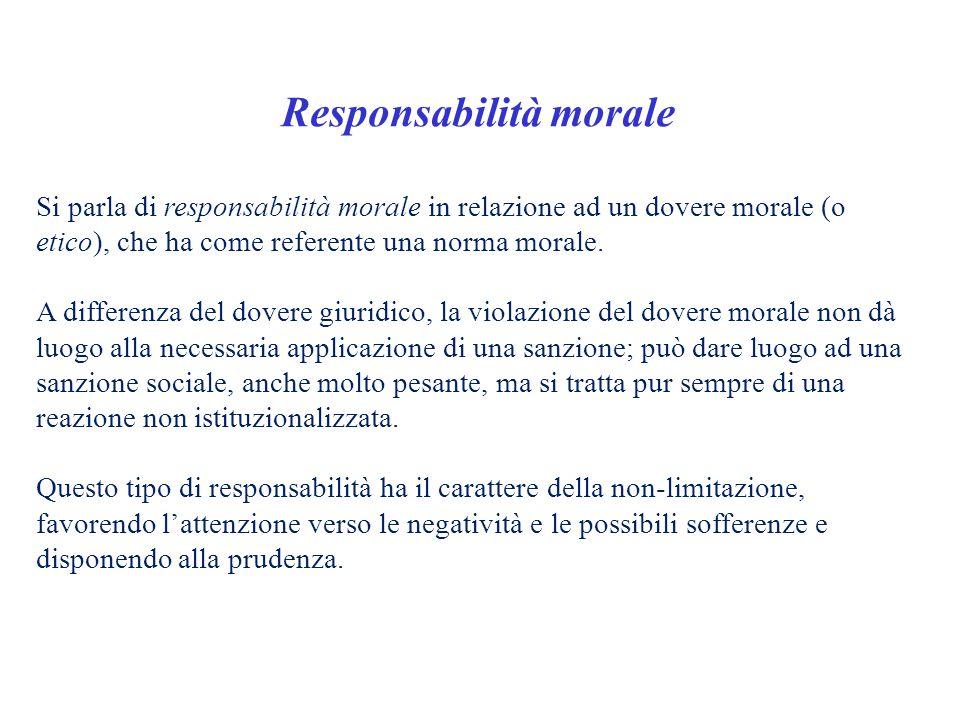 Responsabilità morale Si parla di responsabilità morale in relazione ad un dovere morale (o etico), che ha come referente una norma morale. A differen