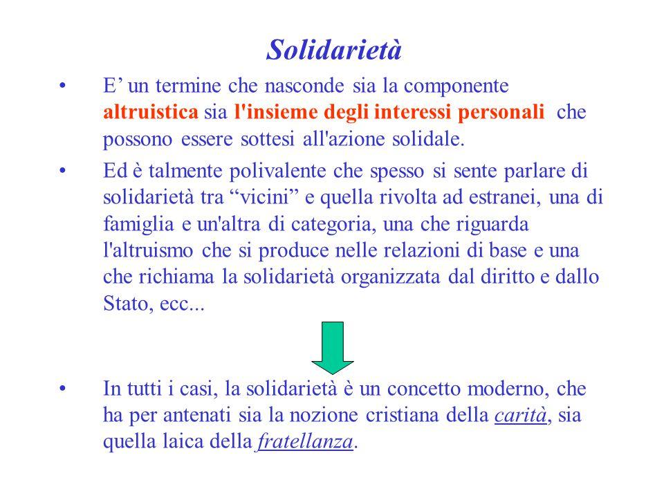 Solidarietà E' un termine che nasconde sia la componente altruistica sia l'insieme degli interessi personali che possono essere sottesi all'azione sol