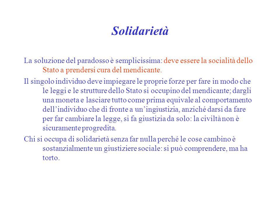Solidarietà La soluzione del paradosso è semplicissima: deve essere la socialità dello Stato a prendersi cura del mendicante. Il singolo individuo dev