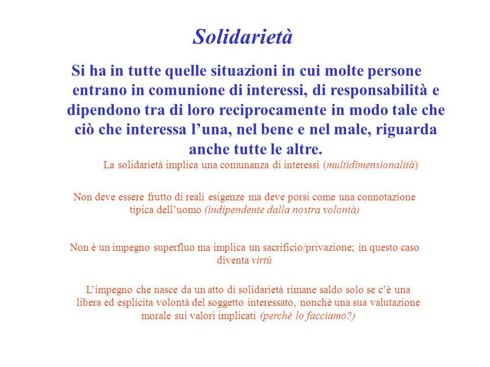 Solidarietà Si ha in tutte quelle situazioni in cui molte persone entrano in comunione di interessi, di responsabilità e dipendono tra di loro recipro