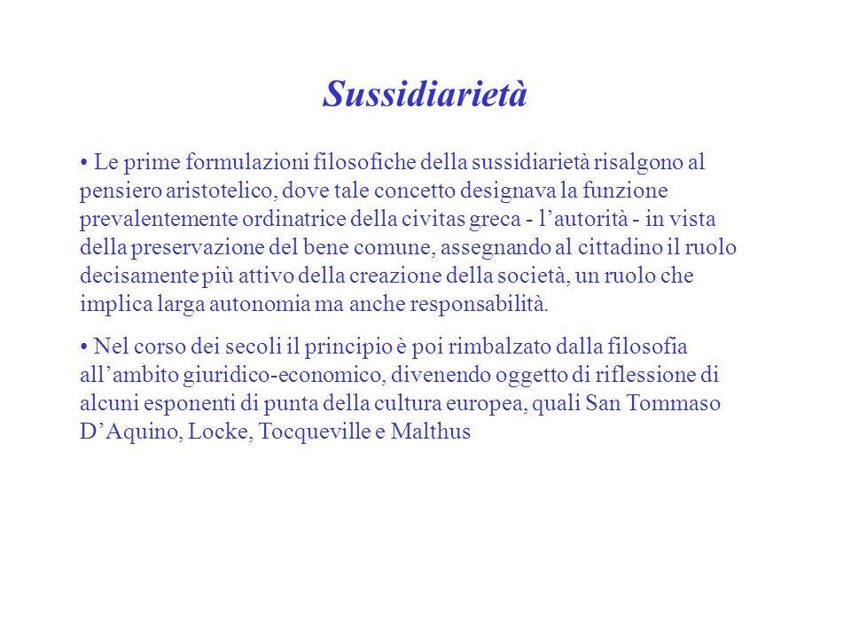 Sussidiarietà Le prime formulazioni filosofiche della sussidiarietà risalgono al pensiero aristotelico, dove tale concetto designava la funzione preva