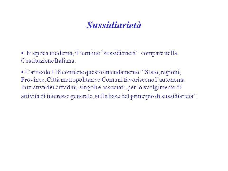 """Sussidiarietà In epoca moderna, il termine """"sussidiarietà"""" compare nella Costituzione Italiana. L'articolo 118 contiene questo emendamento: """"Stato, re"""